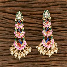 103555 Indo Western Peacock Earring With Gold Plating