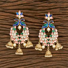 103559 Indo Western Peacock Earring With Gold Plating
