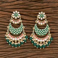 103560 Indo Western Chand Earring With Gold Plating