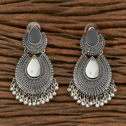 103565 Indo Western Chand Earring With Oxidised Plating