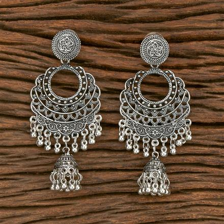 103568 Indo Western Classic Earring With Oxidised Plating