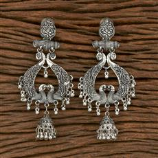 103569 Indo Western Peacock Earring With Oxidised Plating