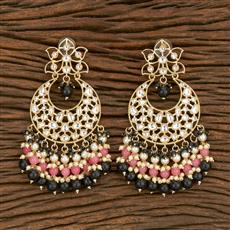 103582 Indo Western Chand Earring With Gold Plating