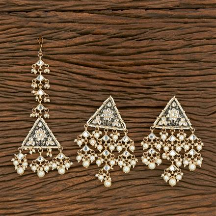 103590 Indo Western Earring Tikka With Gold Plating