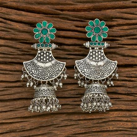 103678 Indo Western Trendy Earring With Oxidised Plating