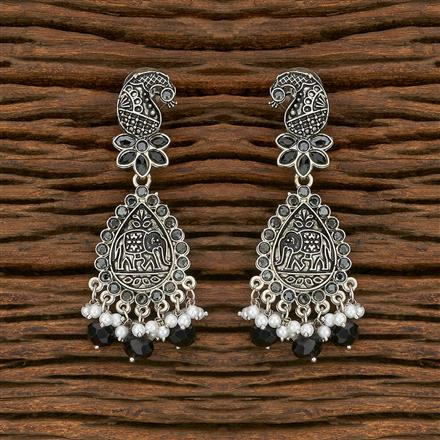 103690 Indo Western Peacock Earring With Oxidised Plating