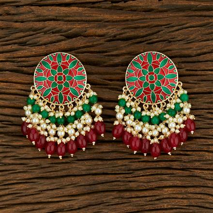 103801 Indo Western Meenakari Earring With Gold Plating