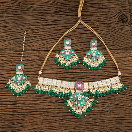 103807 Indo Western Meenakari Necklace With Gold Plating