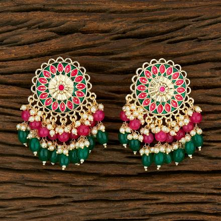 103824 Indo Western Meenakari Earring With Gold Plating