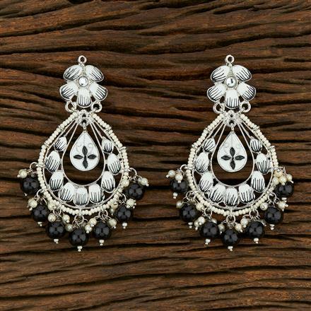 103870 Indo Western Meenakari Earring With Rhodium Plating