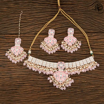 103916 Indo Western Meenakari Necklace With Rose Gold Plating
