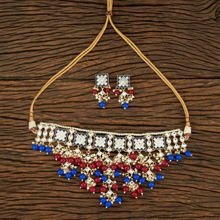 103932 Indo Western Meenakari Necklace With Gold Plating