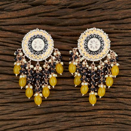 103967 Indo Western Meenakari Earring With Rose Gold Plating