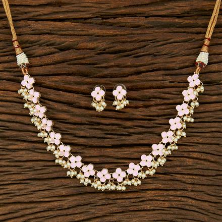 103995 Indo Western Meenakari Necklace With Gold Plating