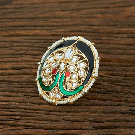 103997 Indo Western Peacock Ring With Gold Plating