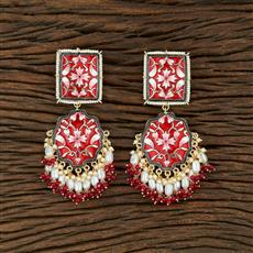 104003 Indo Western Meenakari Earring With Gold Plating