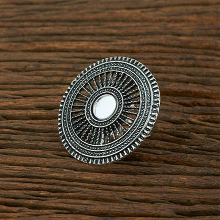 104012 Indo Western Classic Ring With Oxidised Plating