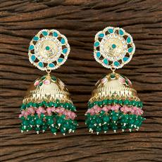 104031 Indo Western Meenakari Earring With Gold Plating