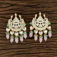 104034 Indo Western Chand Earring With Gold Plating