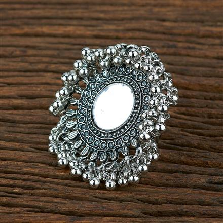 104055 Indo Western Classic Ring With Oxidised Plating