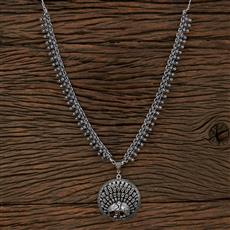 104503 Indo Western Long Necklace With Oxidised Plating