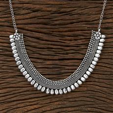 104538 Indo Western Classic Necklace With Oxidised Plating