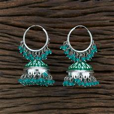 104548 Indo Western Meenakari Earring With Rhodium Plating