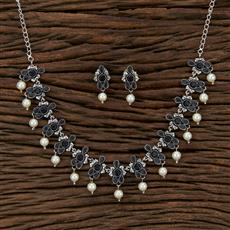 104564 Indo Western Classic Necklace With Oxidised Plating