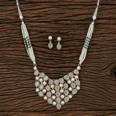 104626 Indo Western Trendy Necklace With Gold Plating