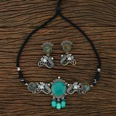 104629 Indo Western Choker Necklace With Oxidised Plating
