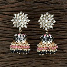 104633 Indo Western Meenakari Earring With Gold Plating