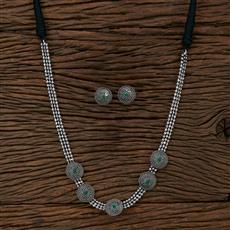 104701 Indo Western Long Necklace With Oxidised Plating