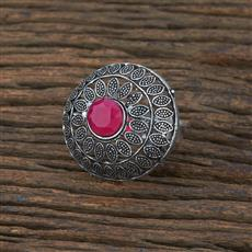 104720 Indo Western Classic Ring With Oxidised Plating