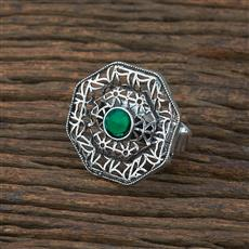 104721 Indo Western Classic Ring With Oxidised Plating