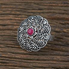 104722 Indo Western Classic Ring With Oxidised Plating