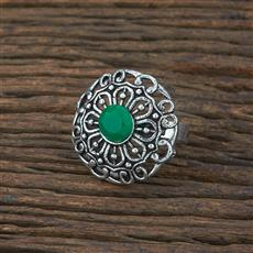 104723 Indo Western Classic Ring With Oxidised Plating