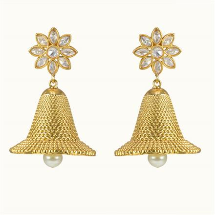10481 Antique Jhumki with gold plating