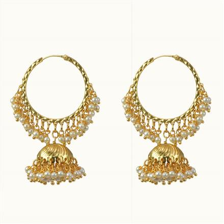 10487 Antique Jhumki with gold plating