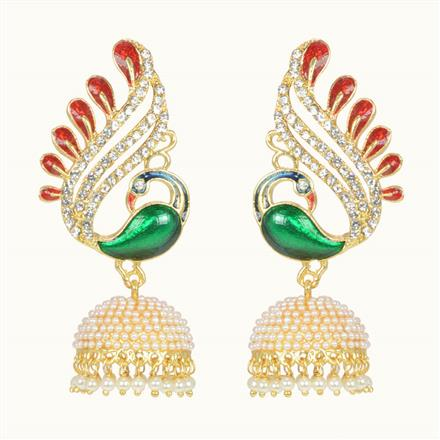 10526 Antique Peacock Earring with gold plating