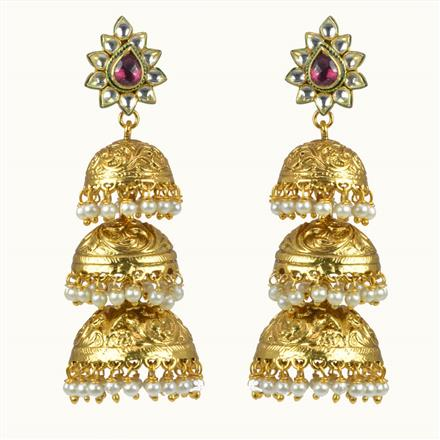 10564 Antique Jhumki with gold plating
