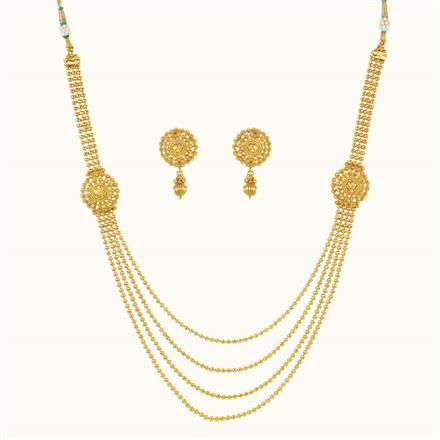 10582 Antique Side Pendant Necklace with gold plating