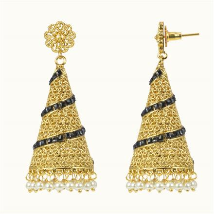 10585 Antique Jhumki with gold plating