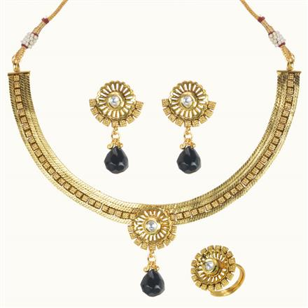 10587 Antique Delicate Necklace with gold plating
