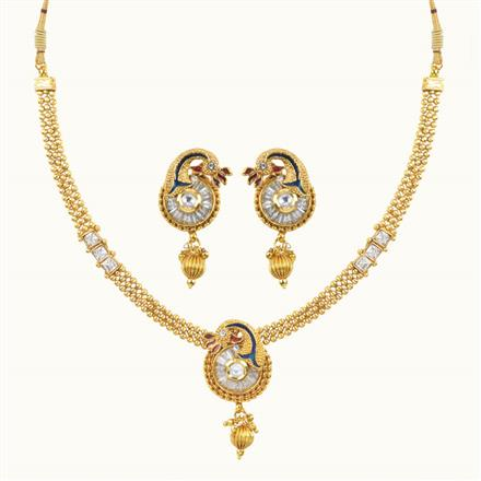 10641 Antique Peacock Necklace with gold plating
