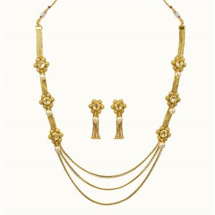10645 Antique Long Necklace with gold plating