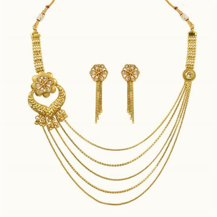 10650 Antique Side Pendant Necklace with gold plating