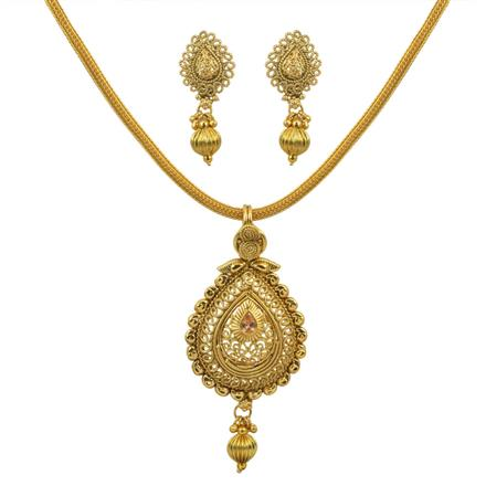 10653 Antique Plain Gold Pendant Set