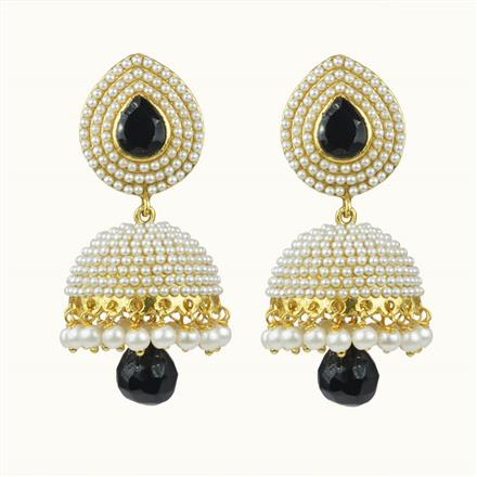 10656 Antique Jhumki with gold plating