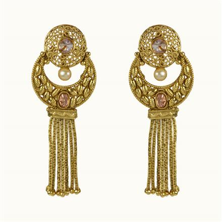 10664 Antique Chand Earring with gold plating