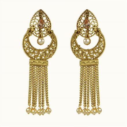 10666 Antique Chand Earring with gold plating